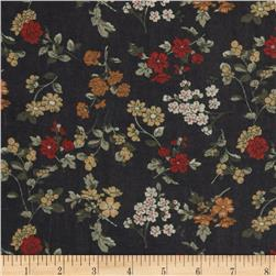 Maribel Voile Flowers Black/Red/Gold