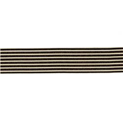 "1.5"" Grosgrain Stripes Black/Ivory"
