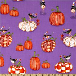 Delightfully Frightful Pumpkin Birds Purple