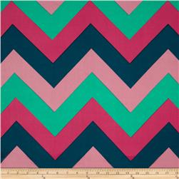 Stretch ITY Jersey Knit Large Chevron Teal/Pink