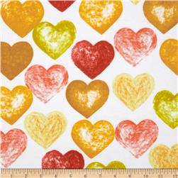Daisy Love Flannel Large Hearts Sorbet