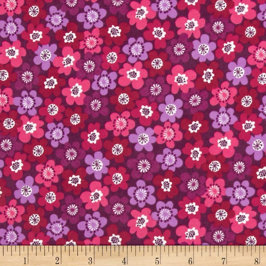 Punch Garden Flannel Small Mod Flowers Bright Purple