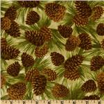 FG-726 Timeless Treasures Cabin Fever Flannel Pinecones Natural