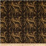 Abstract Retro Pop Scroll Waves Black/Gold