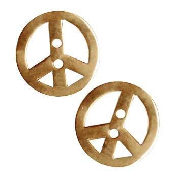 Metal Button 7/8'' Peace Brass