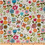Sunny Happy Skies Dreamy Minky Large Floral White