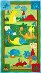 Classic Jurassic Panel Dinosaurs At Play Multi