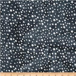 Indian Batik Metallic Celestial Star Charcoal