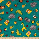 0274334 Sunshine Zoo Animal Allover Blue
