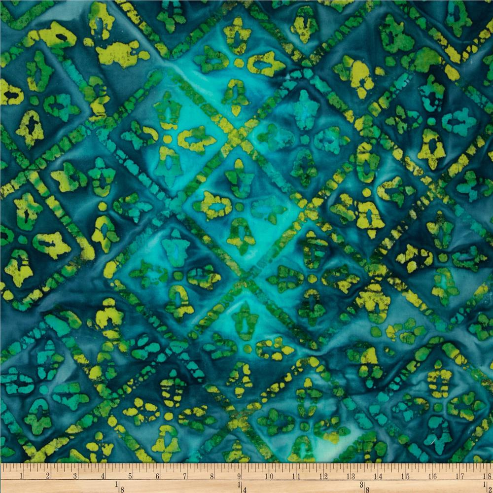 Textile Creations Batik Duck Diamond Aqua/Yellow