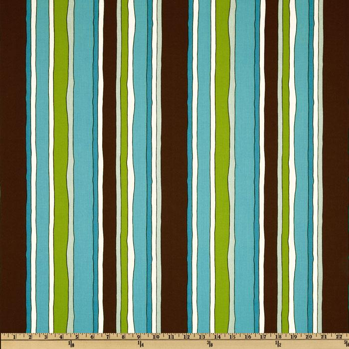 Stripes,Dots, & Plaids Stripes Aqua/Brown