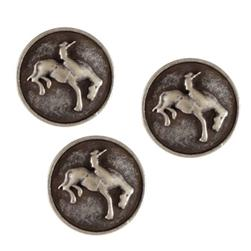 Metal Button 5/8'' Bronco Antique Silver