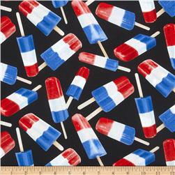 Timeless Treasures Patriotic Popsicles Black
