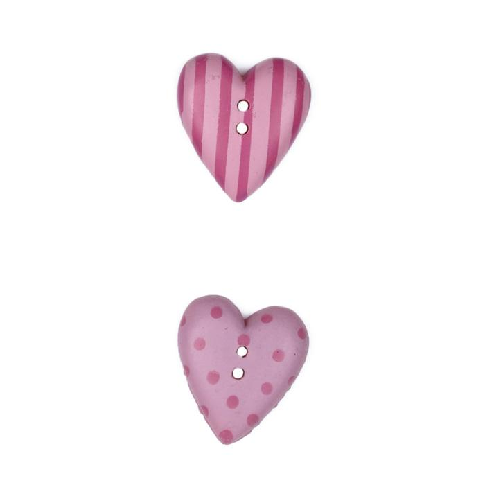 Novelty Button 3/4'' JB Hearts Pink