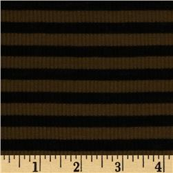 Stretch Rayon Blend Yarn Dyed Rib Knit Black/Brown