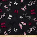 April&#39;s Garden Butterfly Allover Dark Grey