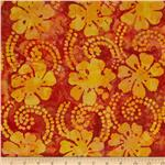 0269805 Indian Batik Floral Vine Yellow/Orange/Rust