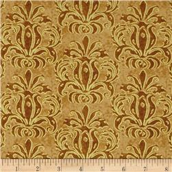Autumn Treasures Damask Metallic Light Brown
