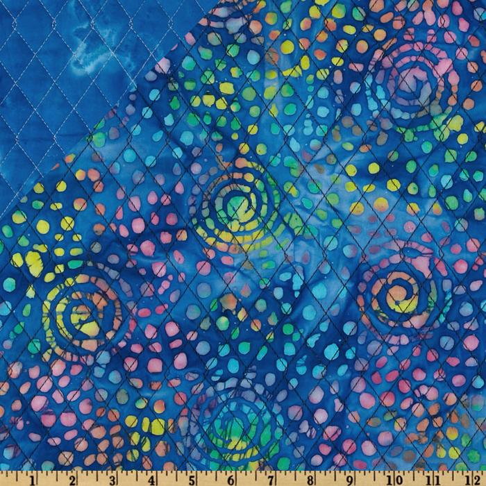 Double Sided Quilted Batik Large Swirl Blue