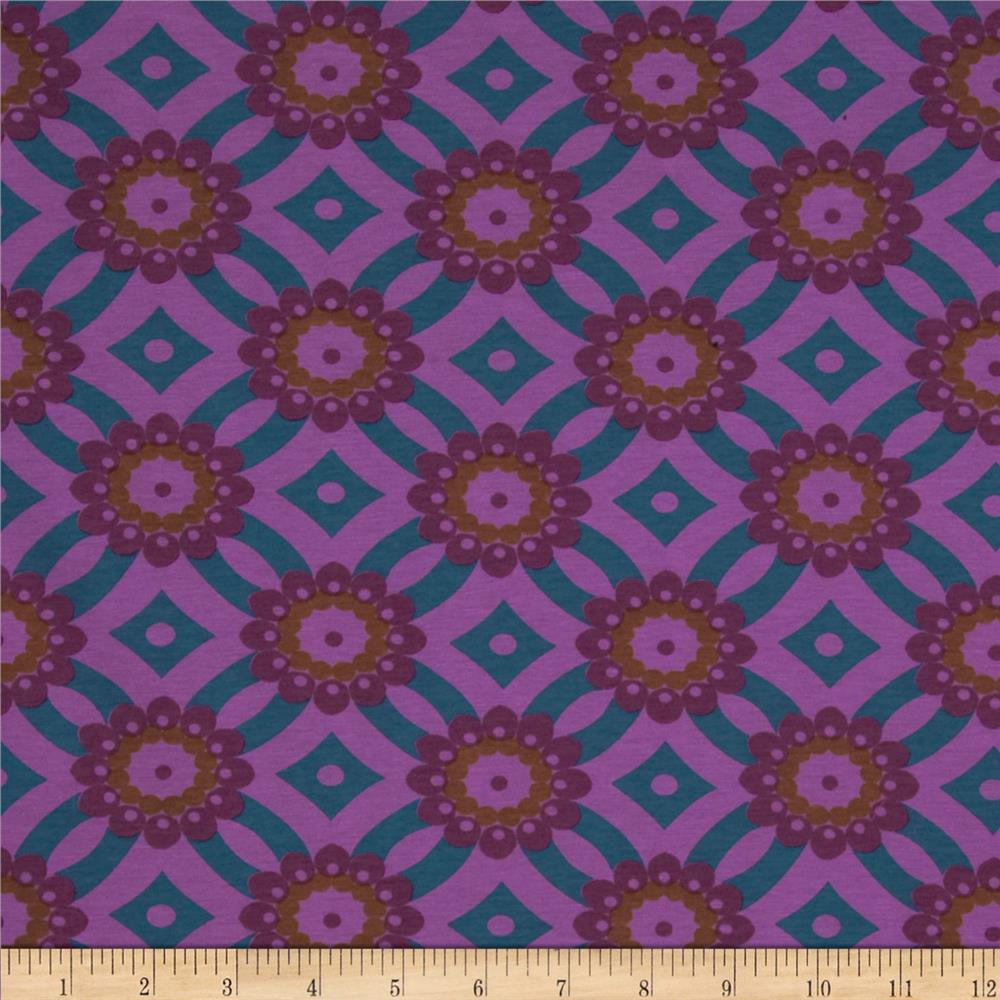 Novelty Printed Rayon Blend Jersey Knit Floral Purple