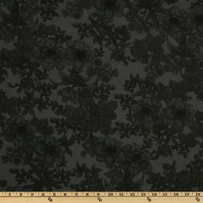 108'' Wide Tonal Bouquet Quilt Backing Charcoal Gray