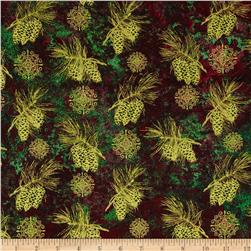 Marblehead Glistening Metallics III Pine Leaves & Cones Red/Green
