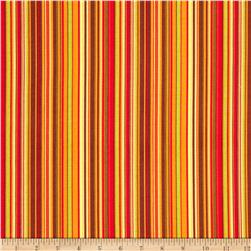 Clothworks Autumn Splendor Stripe Orange/Brown/Green