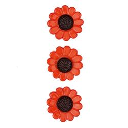 Novelty Button 3/4'' Autumn Flowers Orange