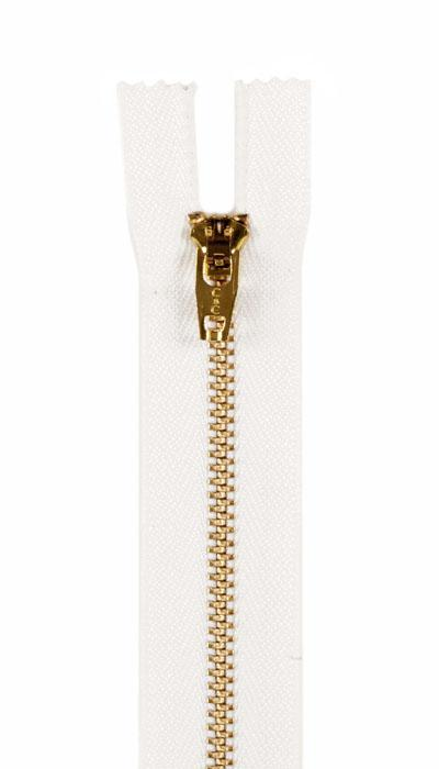 "Brass Jeans Zipper 7"" White"