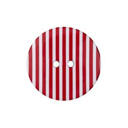 "Dill Novelty Button 1-3/8"" Red Stripe on White"