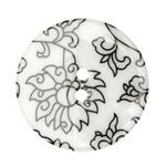 Fashion Button 1-3/8&#39;&#39; Damask Floral White/Black