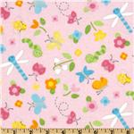 FT-319 Alpine Bloomin Bugs Flannel Tossed Bugs Pink