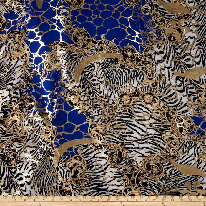 Safari Shimmer Stretch ITY Knit Flourish Royal/Gold
