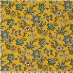A E Nathan Vintage Floral Vines Yellow