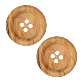 Genuine Wood Button 1 1/8'' Forest Natural