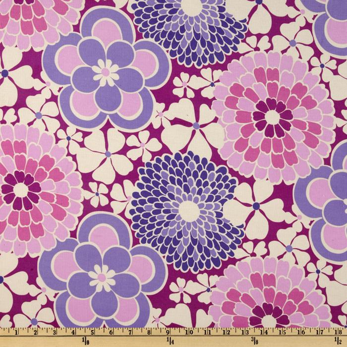Timeless Treasures Flower Power 21 Wale Corduroy Large Floral Berry