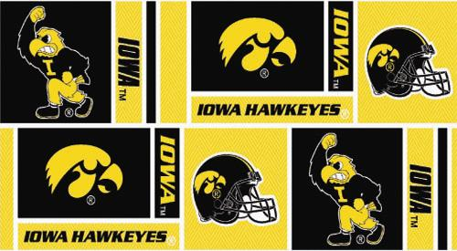 Collegiate Cotton Broadcloth University of Iowa Squares Black/Yellow