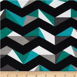 Fashionista Jersey Knit Large Geo Chevron Black/Teal