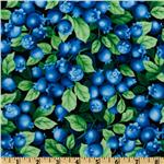 FE-508 Timeless Treasures Farm Fresh Blueberries Black