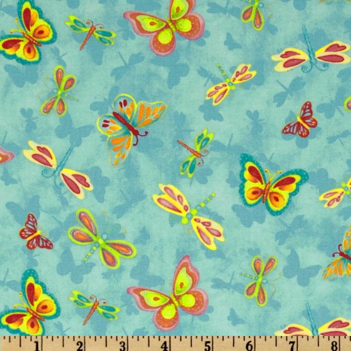 Happy Blooms Dragonflies &amp; Butterflies Blue