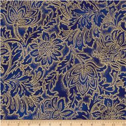 Grandeur 3 Metallics  Flower Tonal Royal