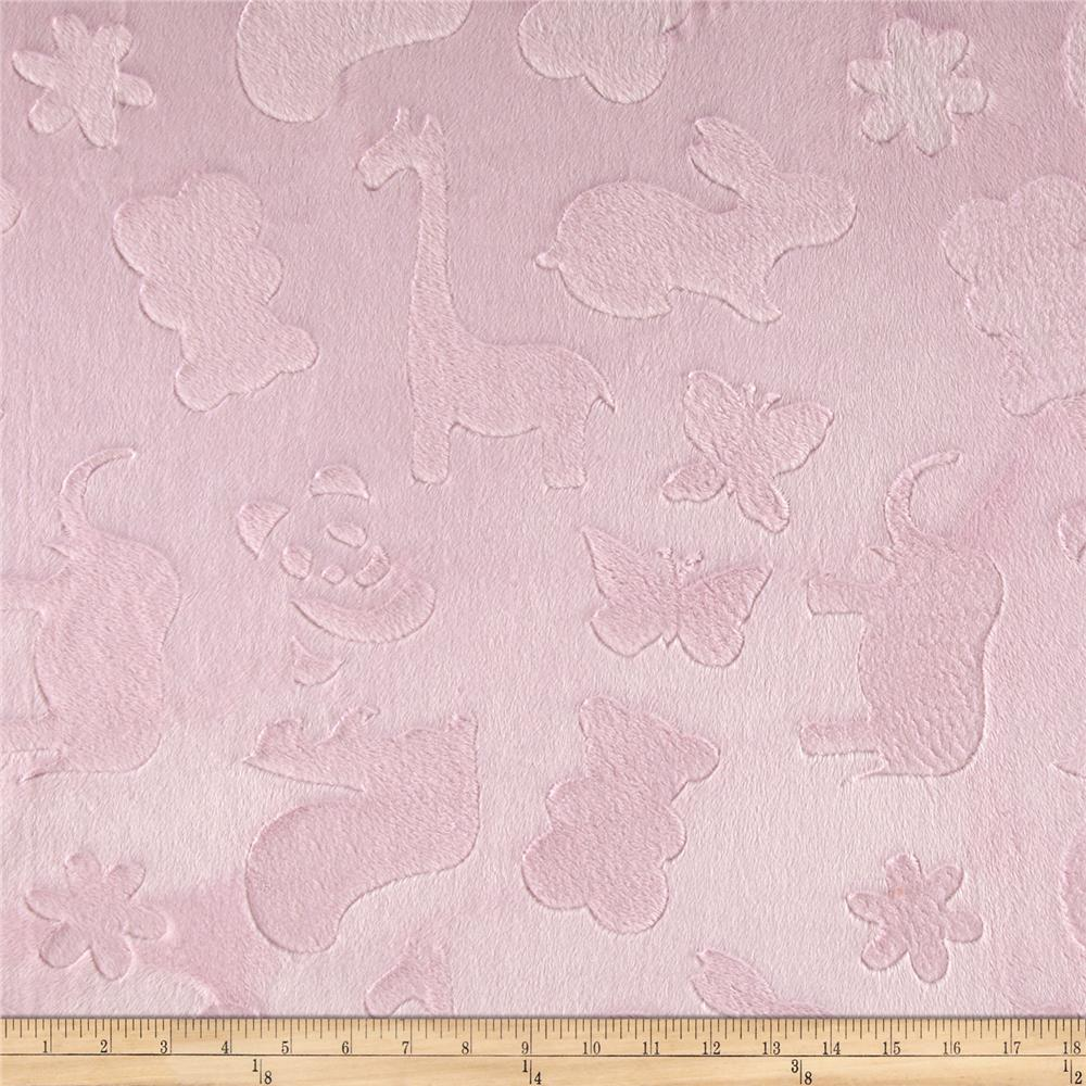 Minky Cuddle Embossed Animal Crackers Light Pink