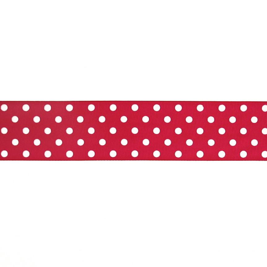 "1.5"" Grosgrain Polka Dots Red/White"