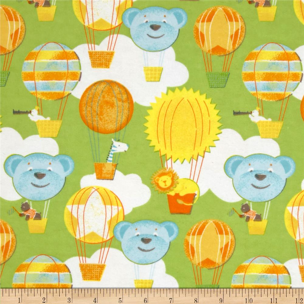 Adventure Land Flannel Hot Air Balloons Green