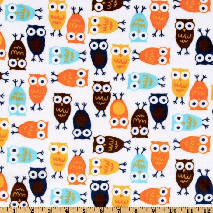Kaufman Minky Cuddle Night Owl Orange/Brown