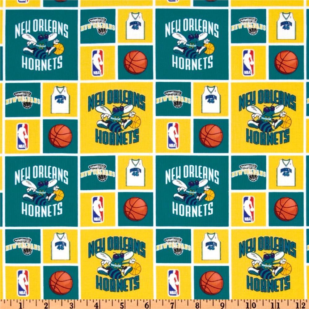 NBA Cotton Broadcloth New Orleans Hornets Yellow/Teal