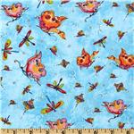 Garden Whimsy Butterflies & Dragonflies Blue