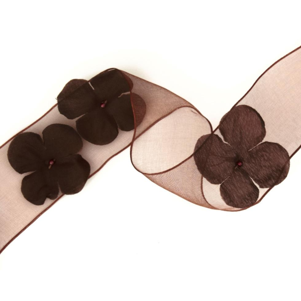 1 1/2&#39;&#39; Wired Organza Ribbon 3D Flowers Brown