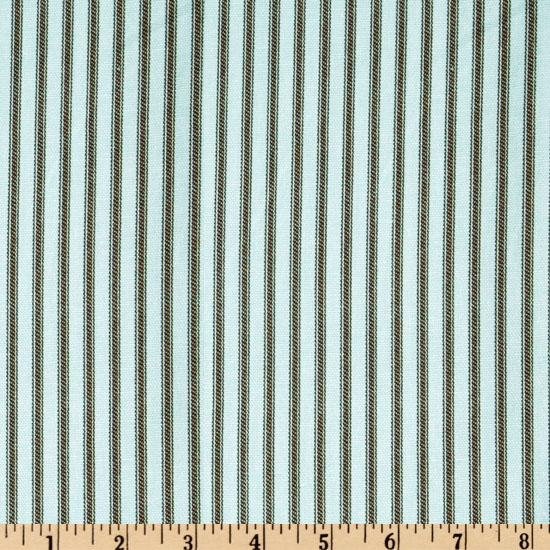 Ticking Stripe Aqua/Chocolate Brown