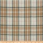 Wool Blend Coating Large Plaid Tan/Multi